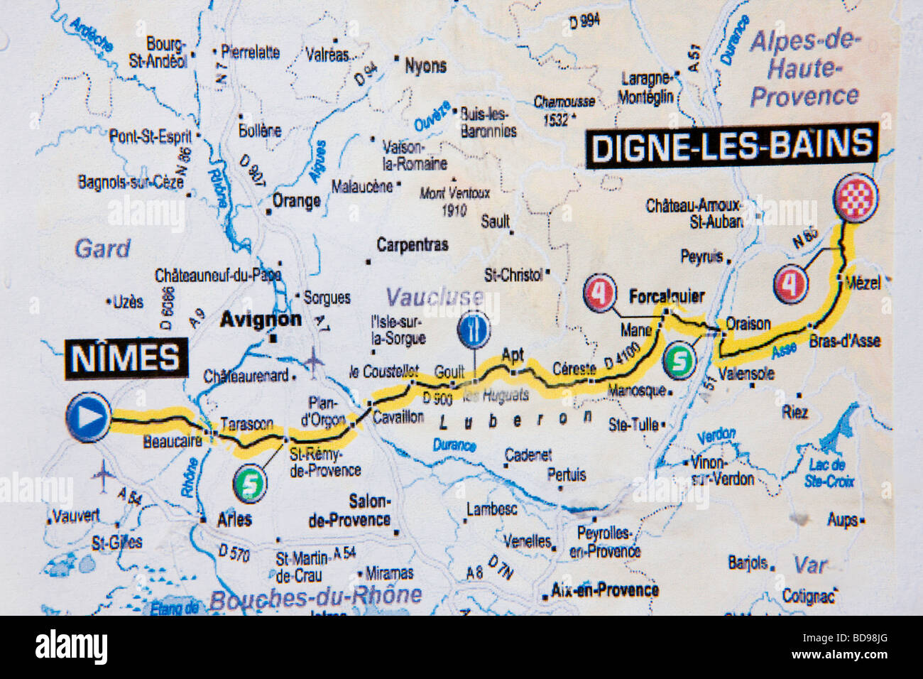 Tour de france route stock photos tour de france route stock route of tour de france 2008 provence france stock image gumiabroncs Image collections