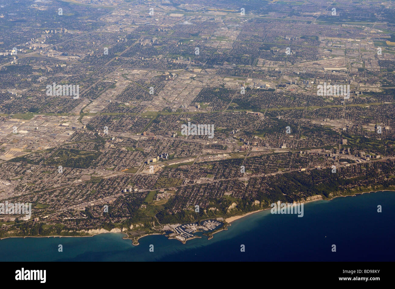 Aerial view of Scarborough with Bluffs on Lake Ontario Toronto - Stock Image