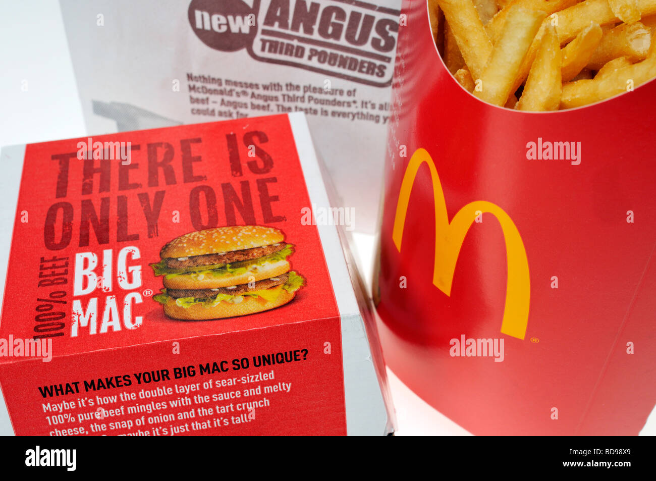 McDonald's Big Mac and french fries in packaging. - Stock Image