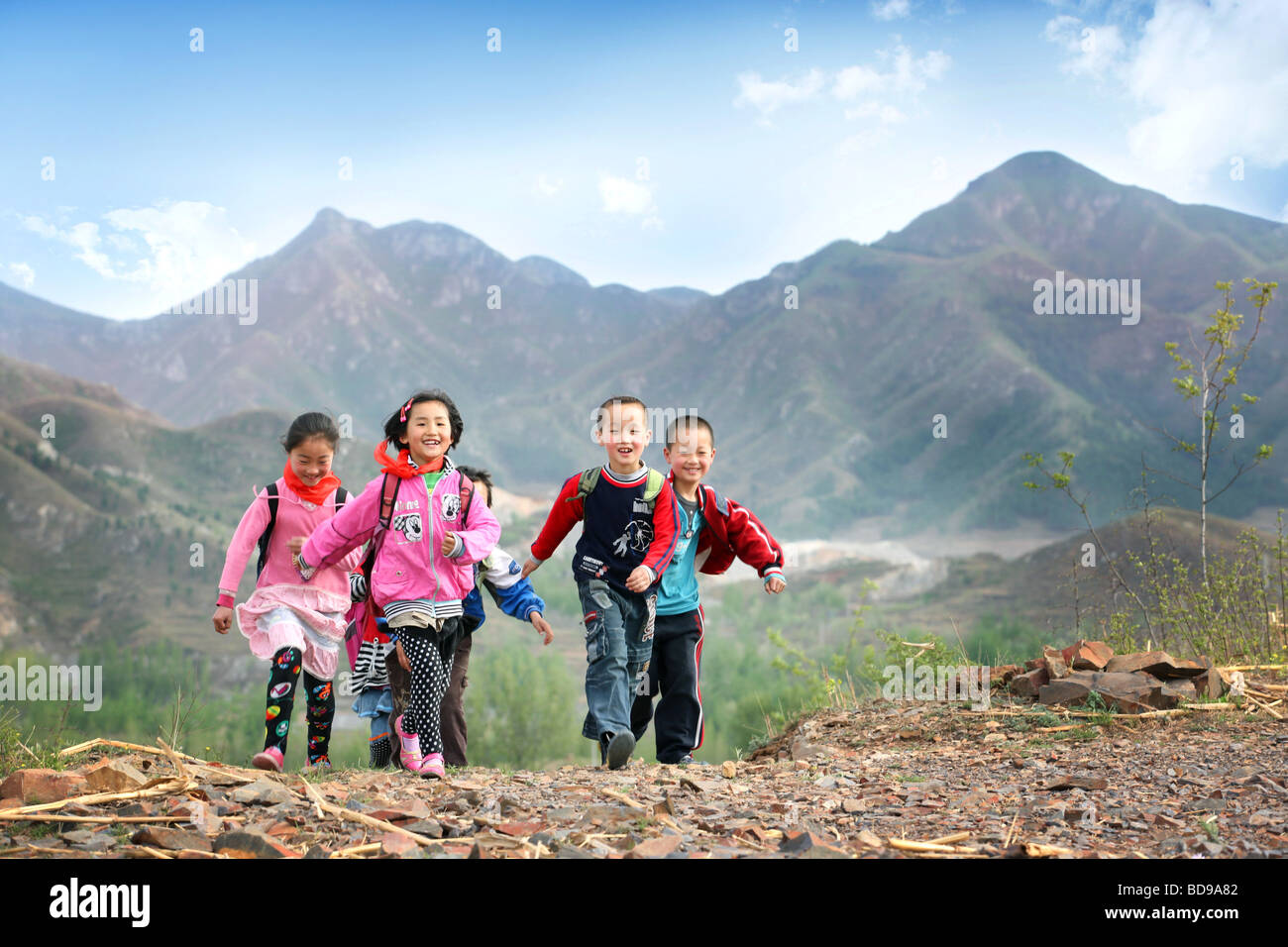 Elementary students in rural area,China - Stock Image
