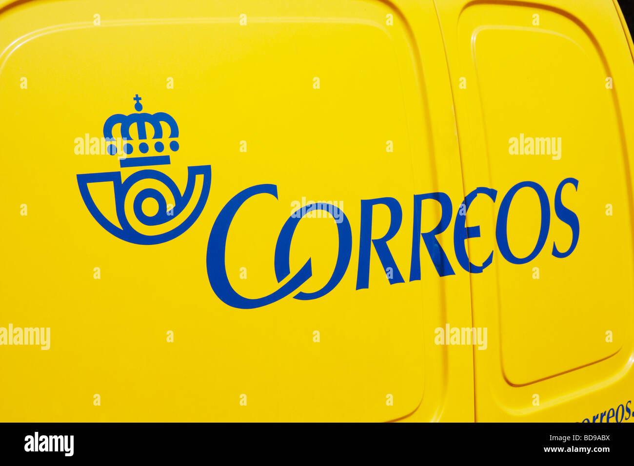 Spanish postal service mail delivery van - Stock Image