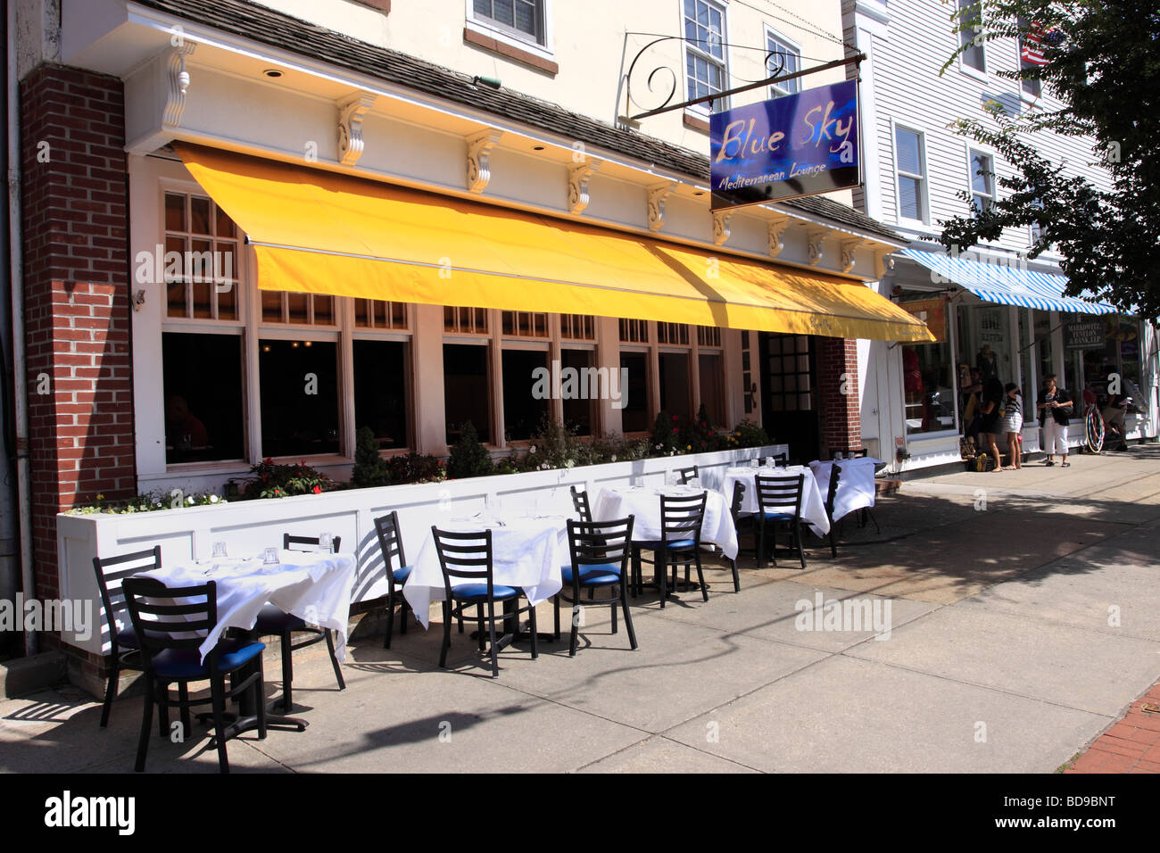 The Blue Sky Restaurant, Main Street, Sag Harbor, Long Island NY - Stock Image