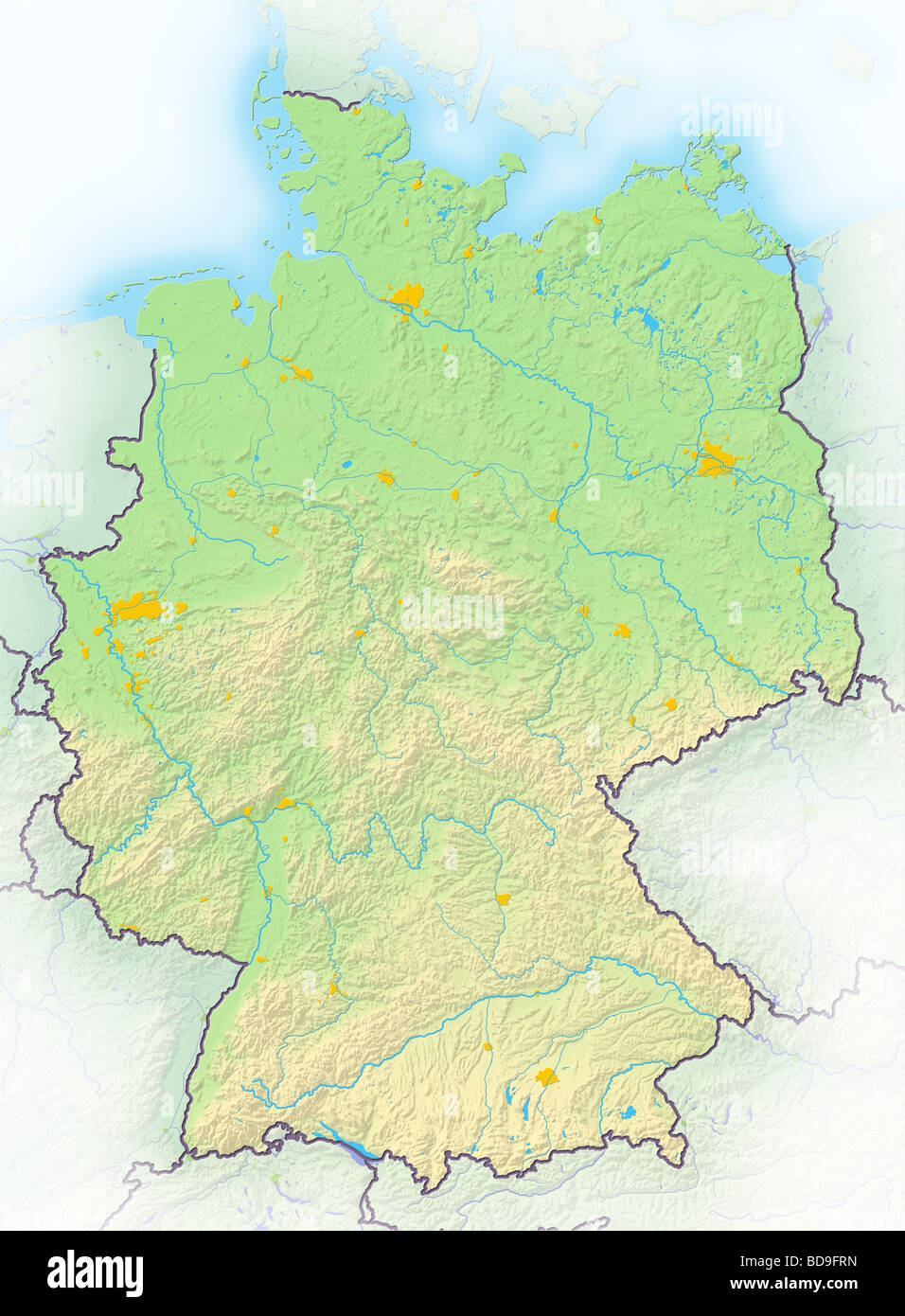 germany shaded relief map stock image