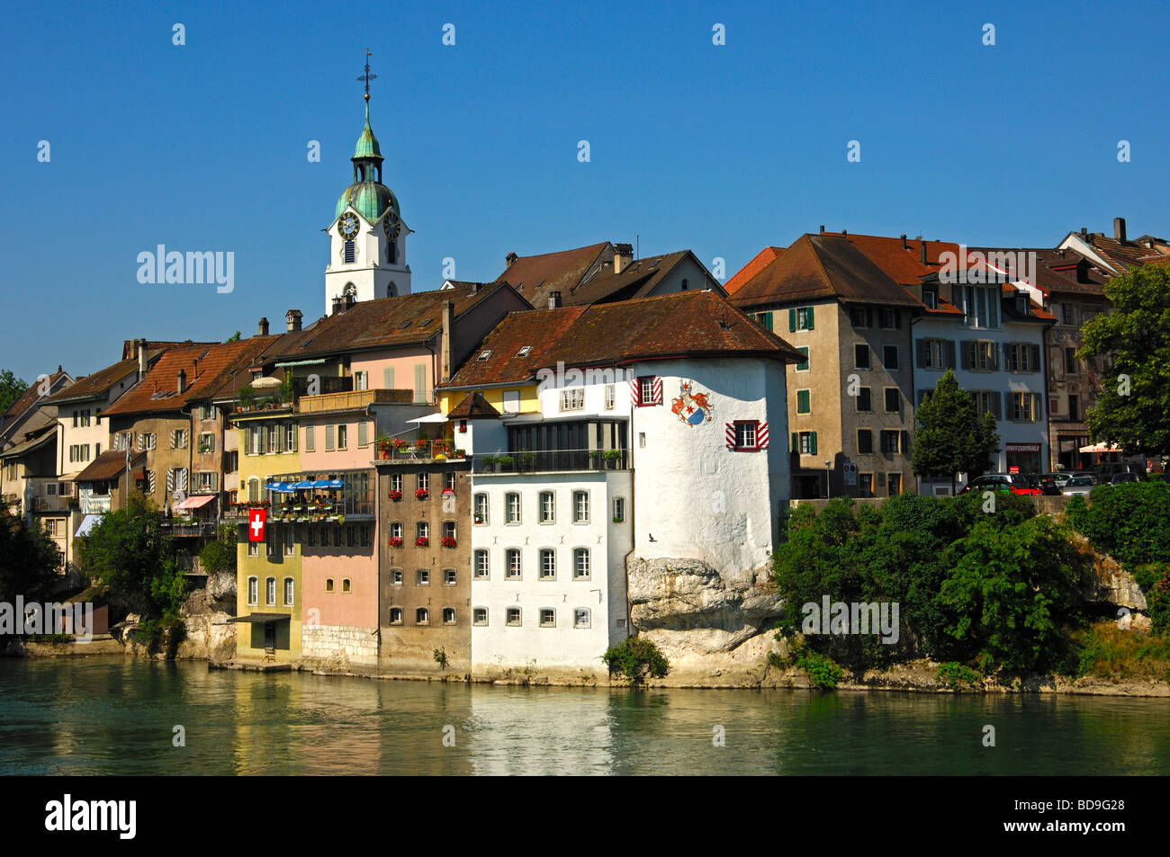 Old town of Olten at the bank of the river Aare, canton of Solothurn, Switzerland - Stock Image