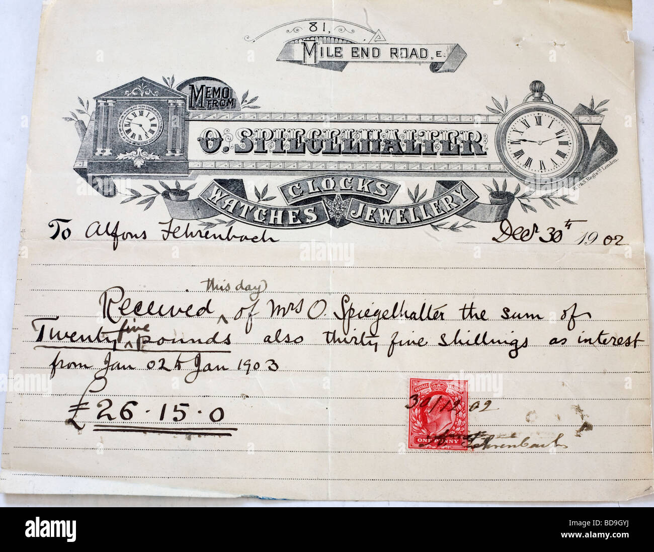 Receipt on paper of Mile End clockmaker and jeweller Otto Spiegelhalter (deceased) dated 30 December 1902 - Stock Image