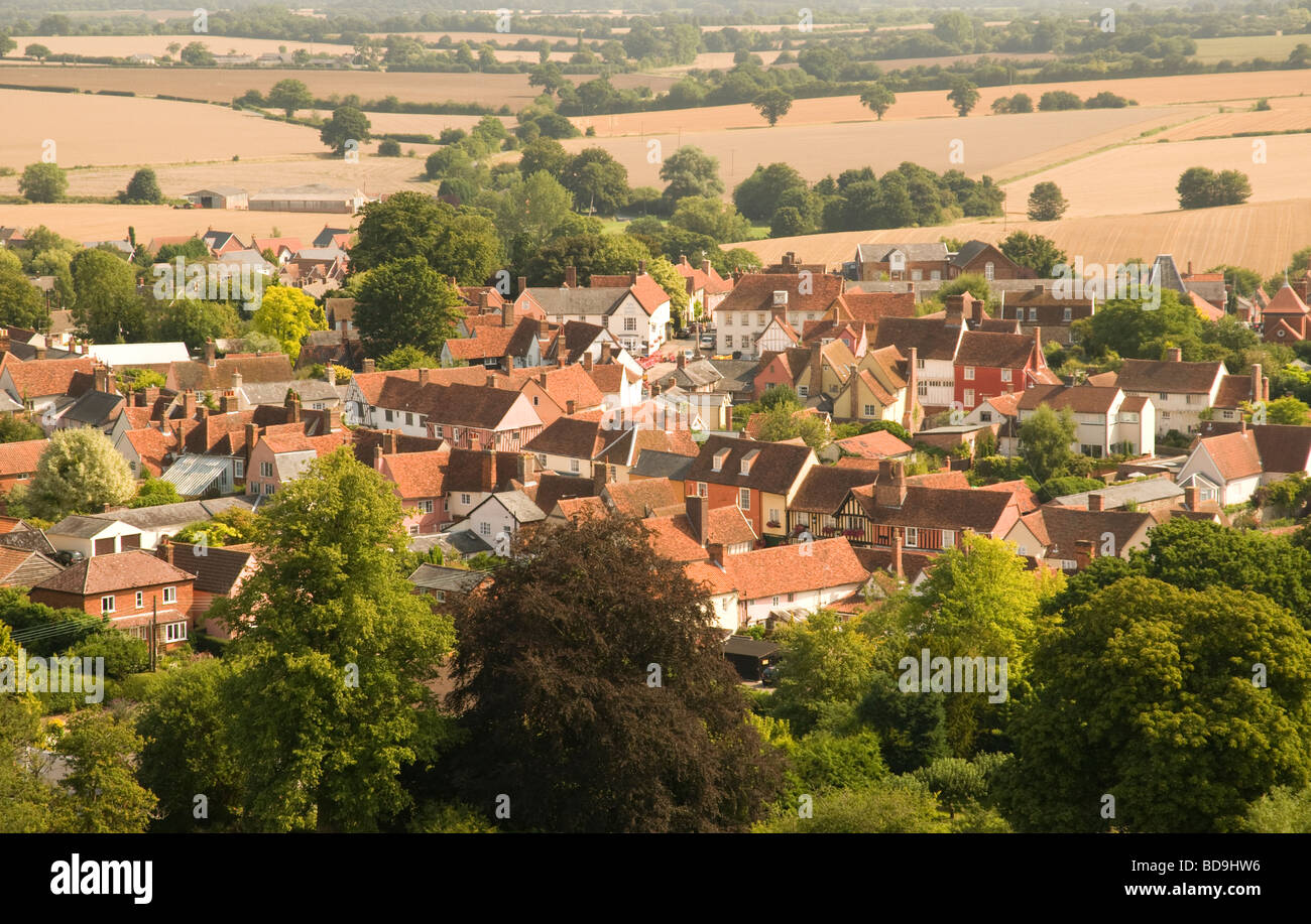 An aerial view of Lavenham in Suffolk, England. Stock Photo