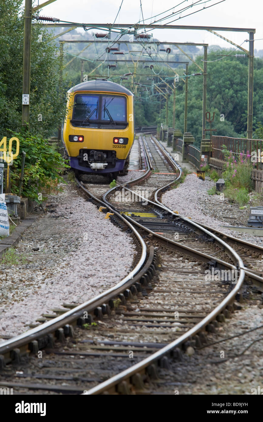 Northern Rail unit crossing Dinting Viaduct, Glossop, Derbyshire - Stock Image