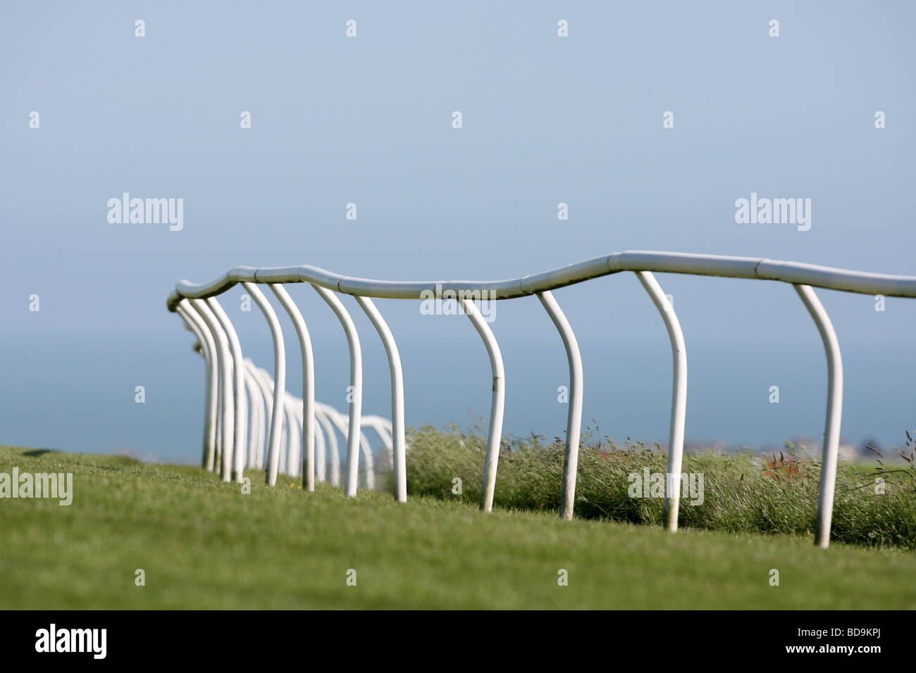 A view of the Running Rails at a Race Course. - Stock Image