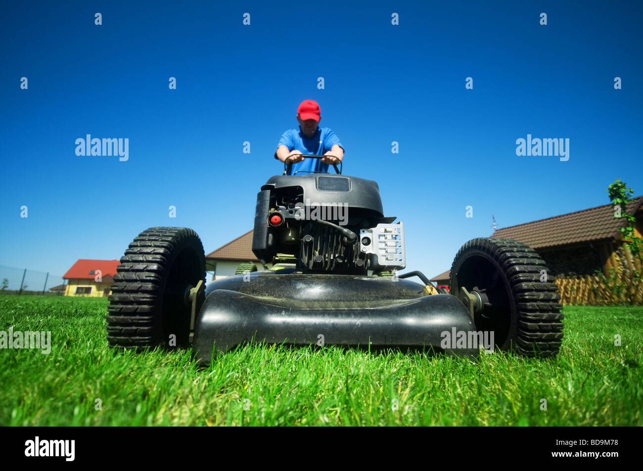 Mowing the lawn - Stock Image