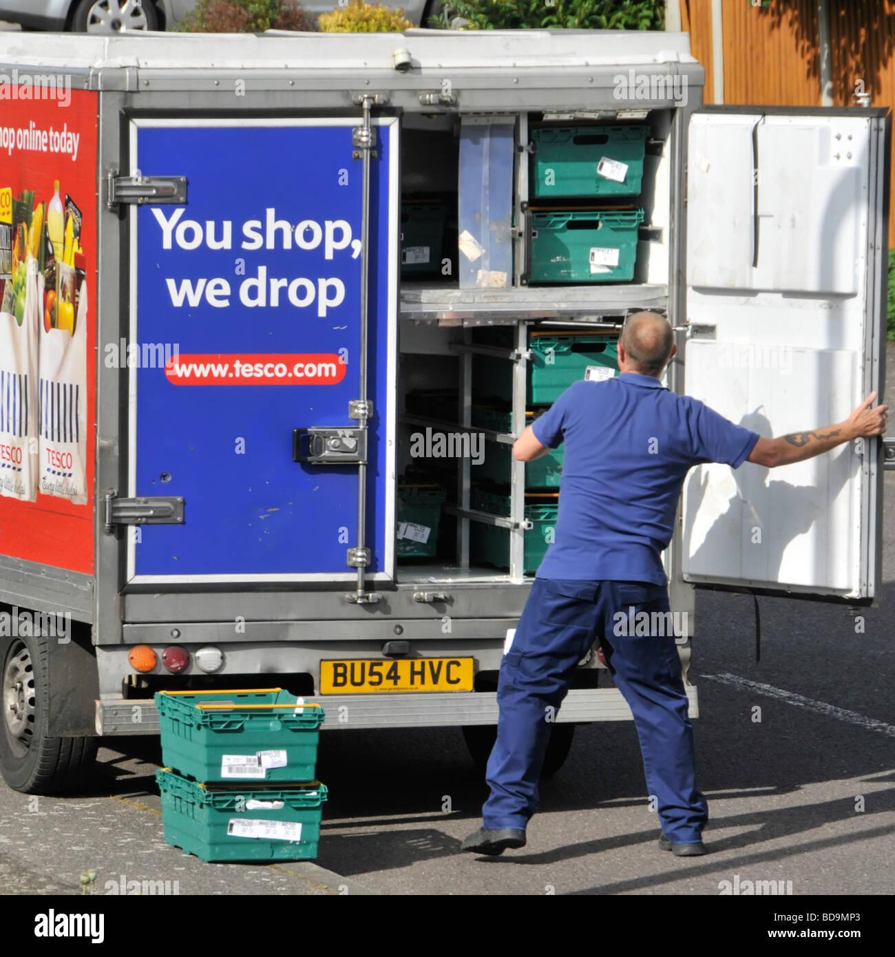 Tesco supermarket online internet food shopping delivery van