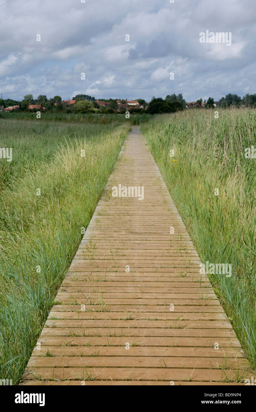 A Board Walk across marshland at The Maltings, Snape, Suffolk - Stock Image