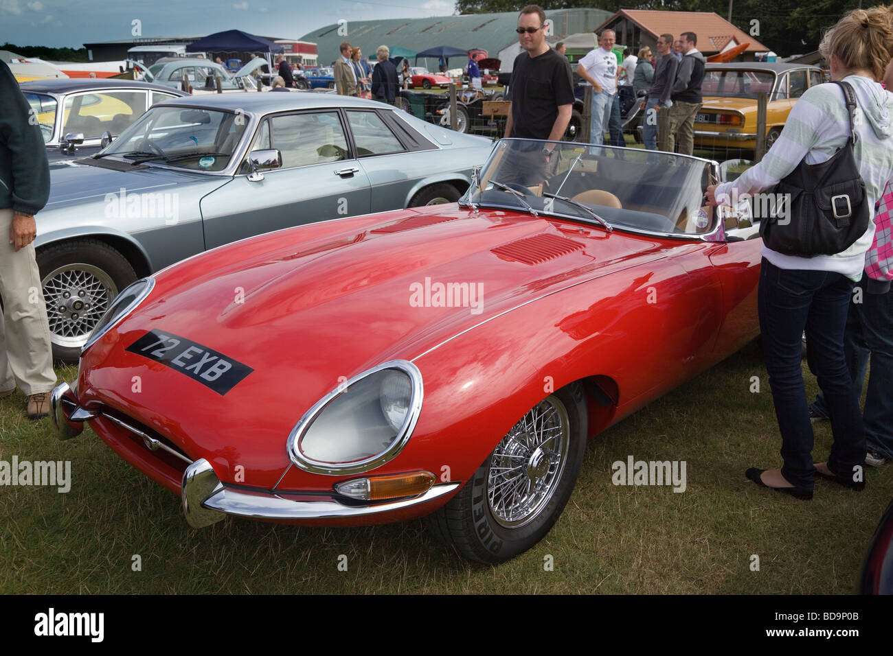 A Vintage Convertible Red E Type Jaguar On Display At An Open Day The Kent Gliding Club In England UK