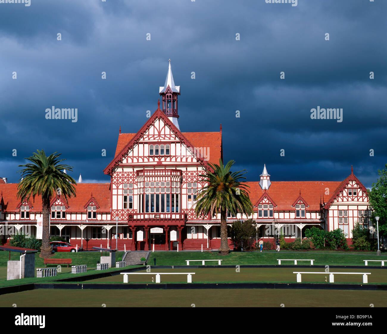 Tudor towers Government Gardens Rotorua North Island New Zealand Stock Photo