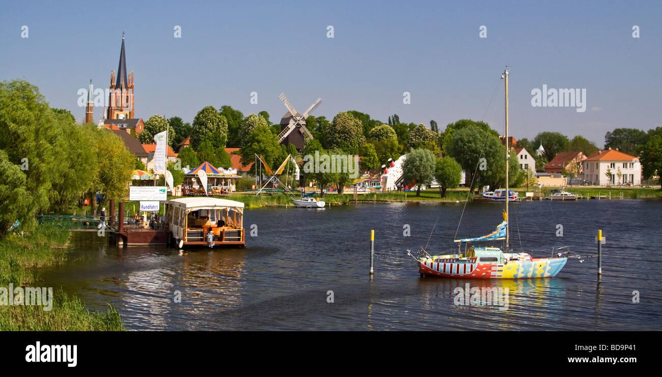 Panorama of Werder at river Havel in Brandenburg  - Stock Image