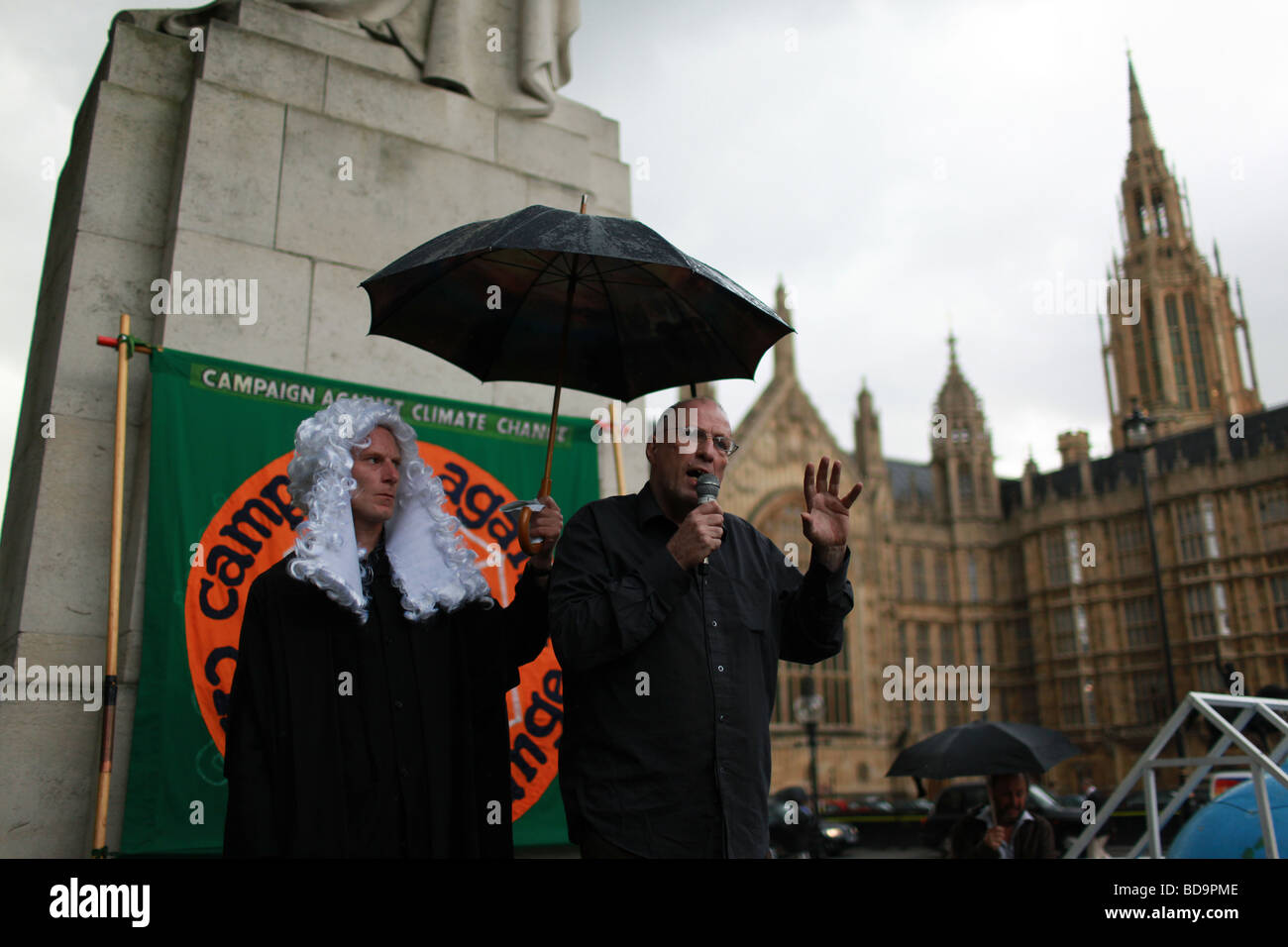Climate change protest outside Westminster. Stock Photo