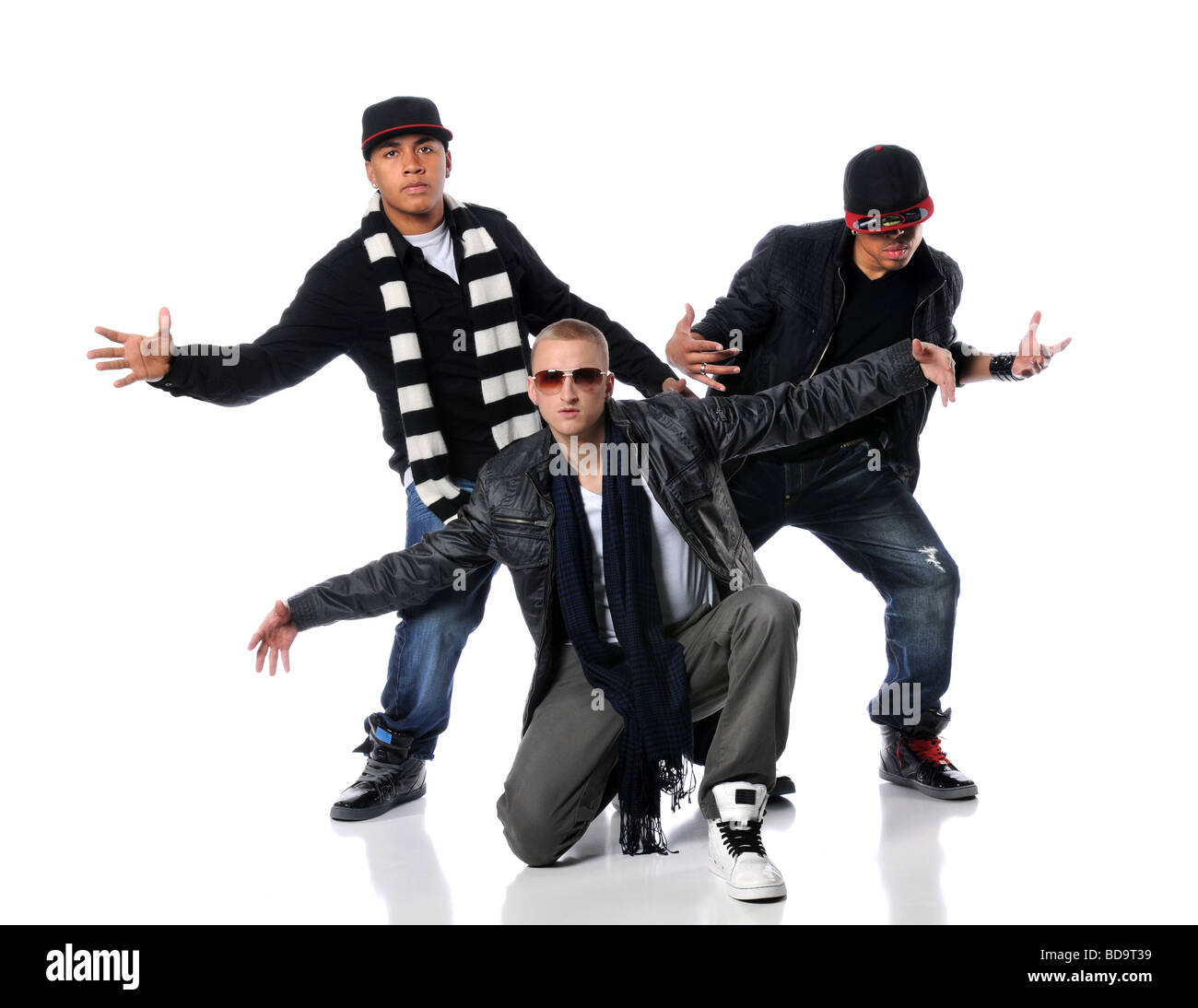 0a1dfaeb3 Hip Hop style men dancing over a white background - Stock Image