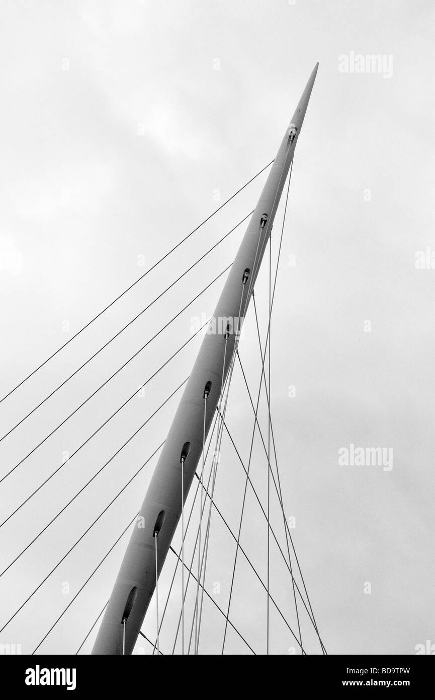 THe spear of Trinity Bridge, Manchester, England. - Stock Image