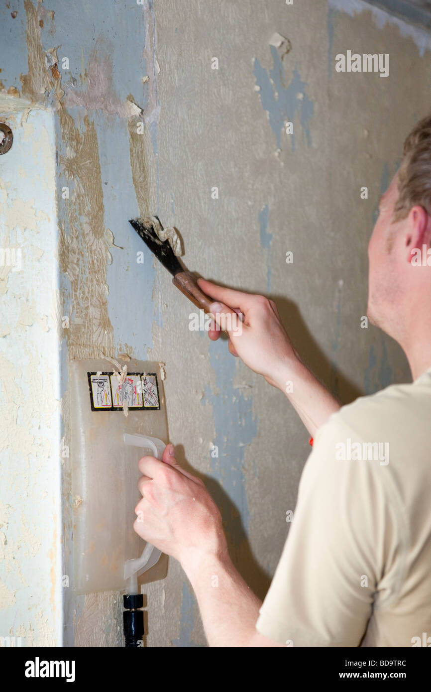 Britain UK Young man scraping wallpaper off a wall using a scraper and steamer - Stock Image