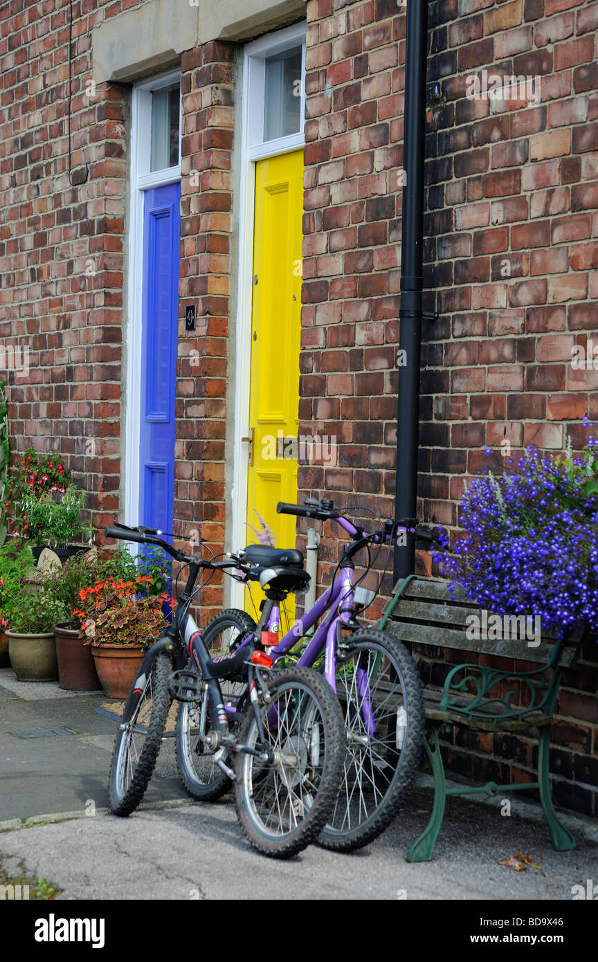 Durham City yellow and blue door with two bikes outside the front door of a terraced house Wanless terrace two doors 2 & Durham City yellow and blue door with two bikes outside the front ...