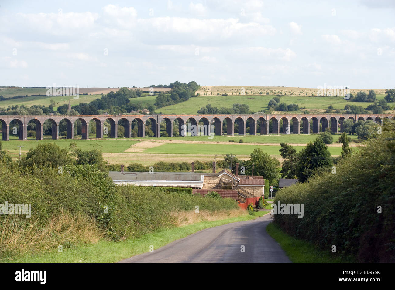 Britain's longest Railway Viaduct at Harringworth which crosses the welland valley between Rutland & Northamptonshire - Stock Image