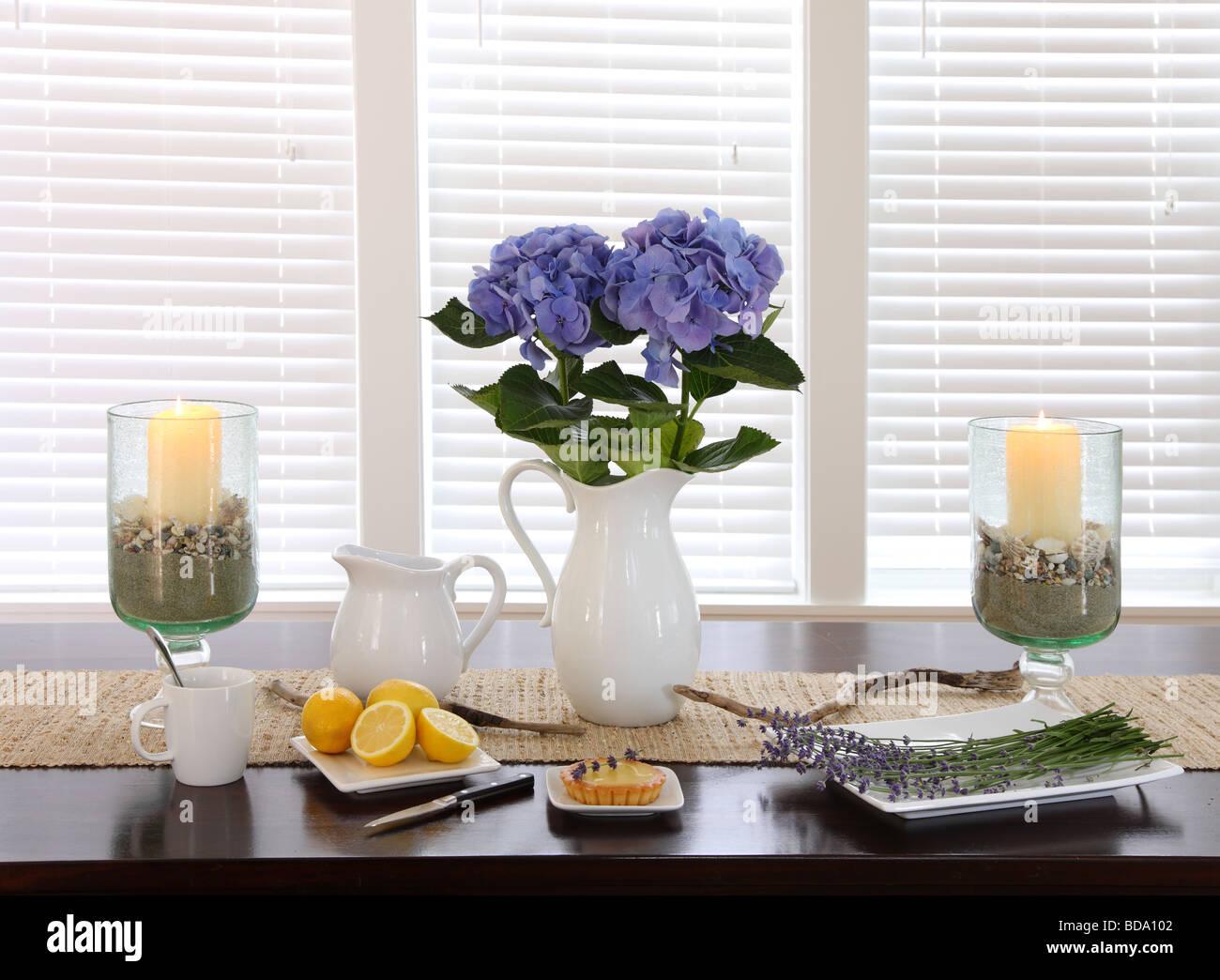 Dining room table still life - Stock Image