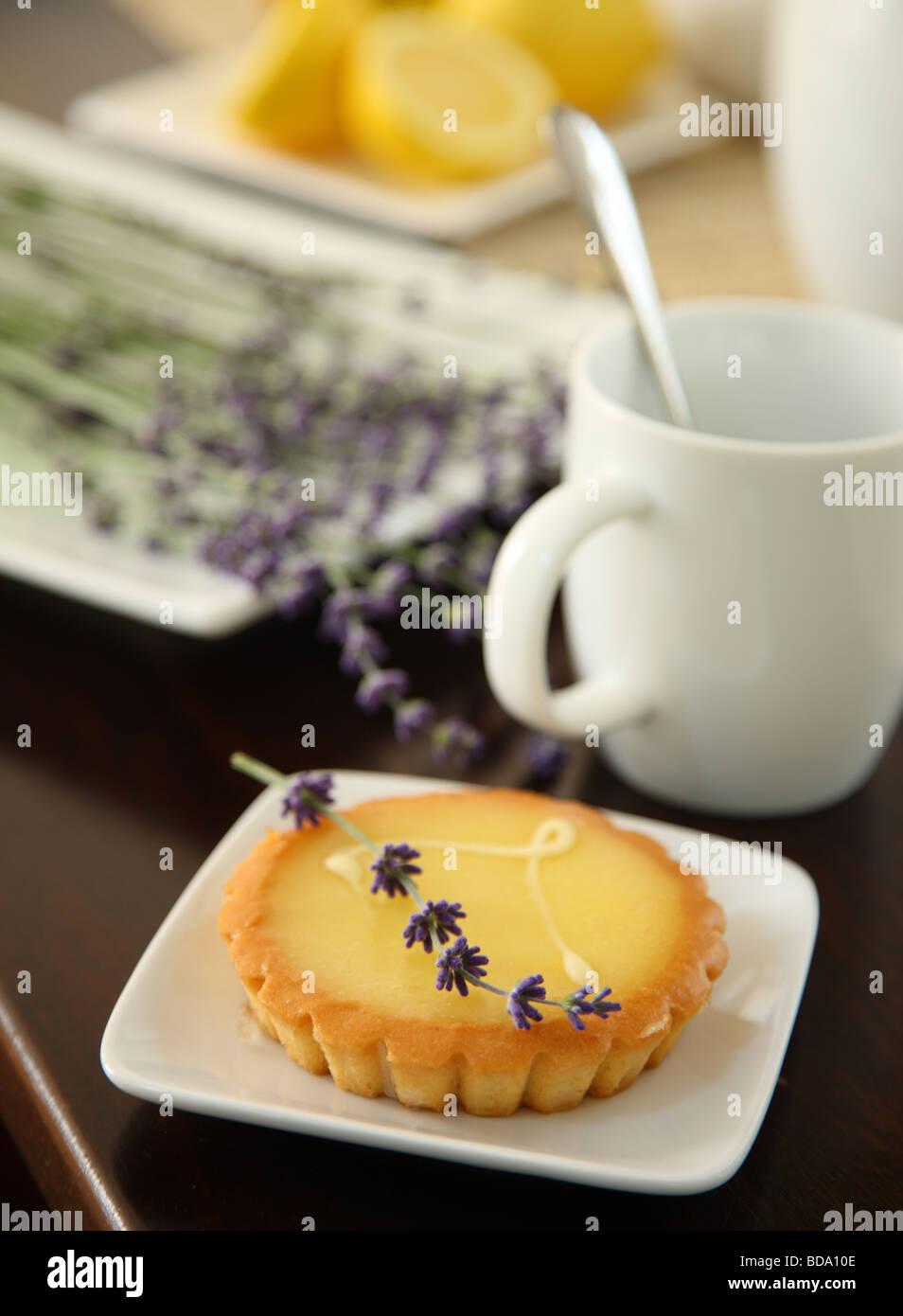 Lemon tart with lavender - Stock Image