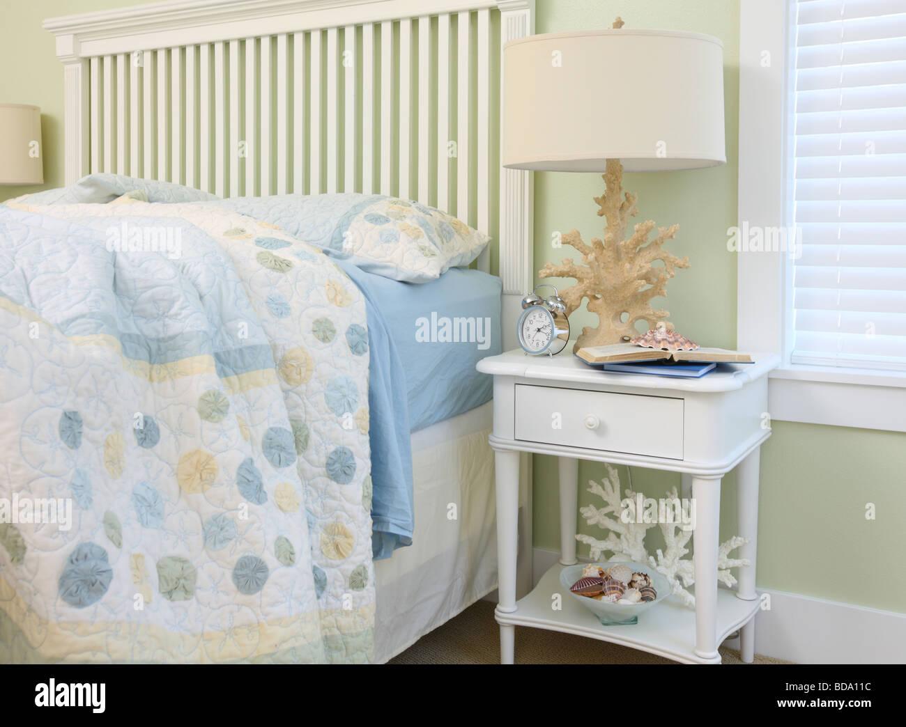 Beach house bedroom interior - Stock Image