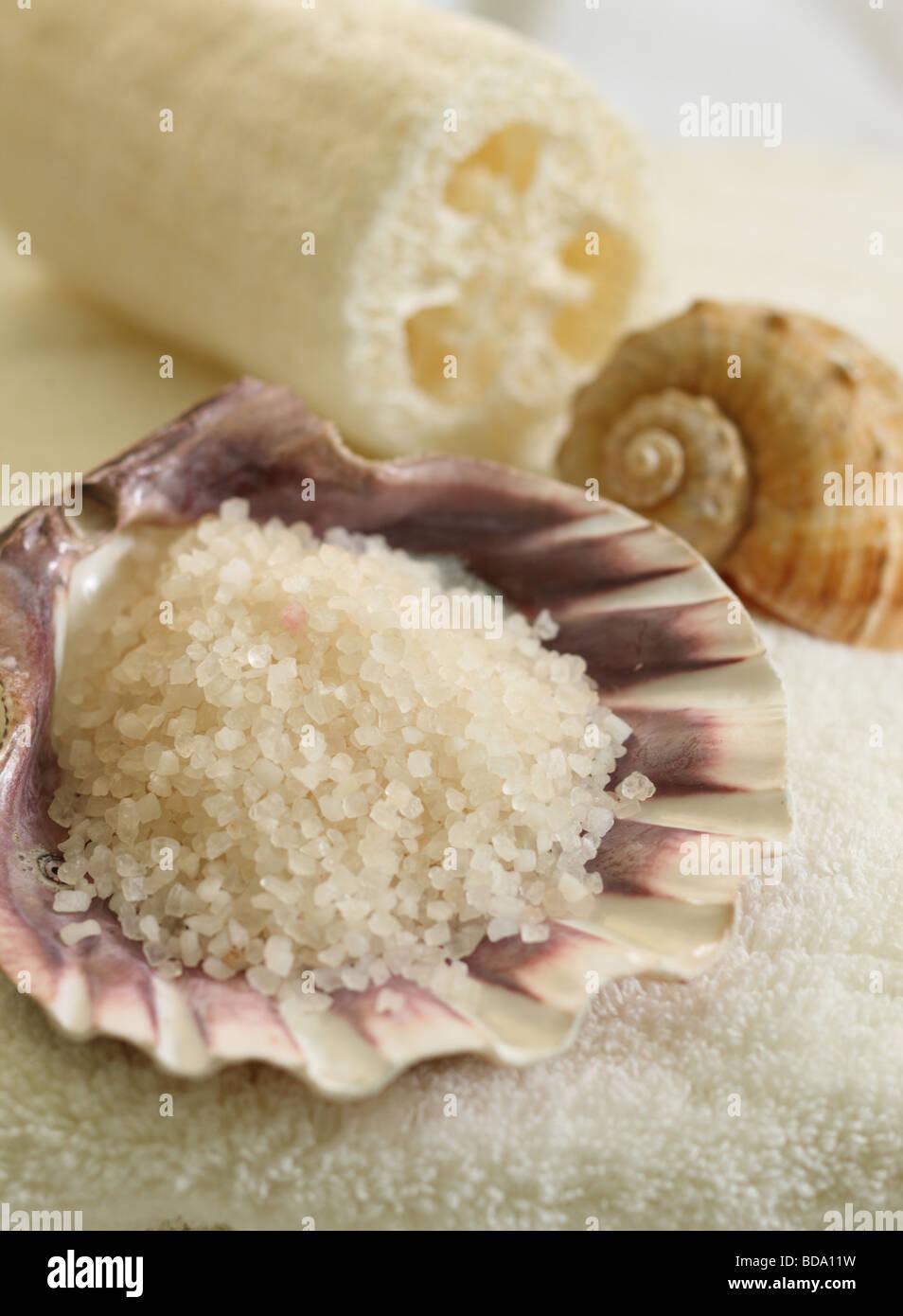 Shells and bath salts - Stock Image