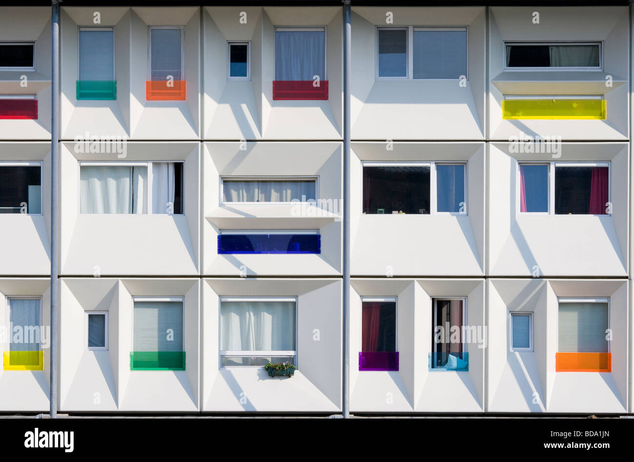Modern prefab student housing in the Amsterdam harbour, harbor, docklands, using modular cargo shipping containers. Stock Photo