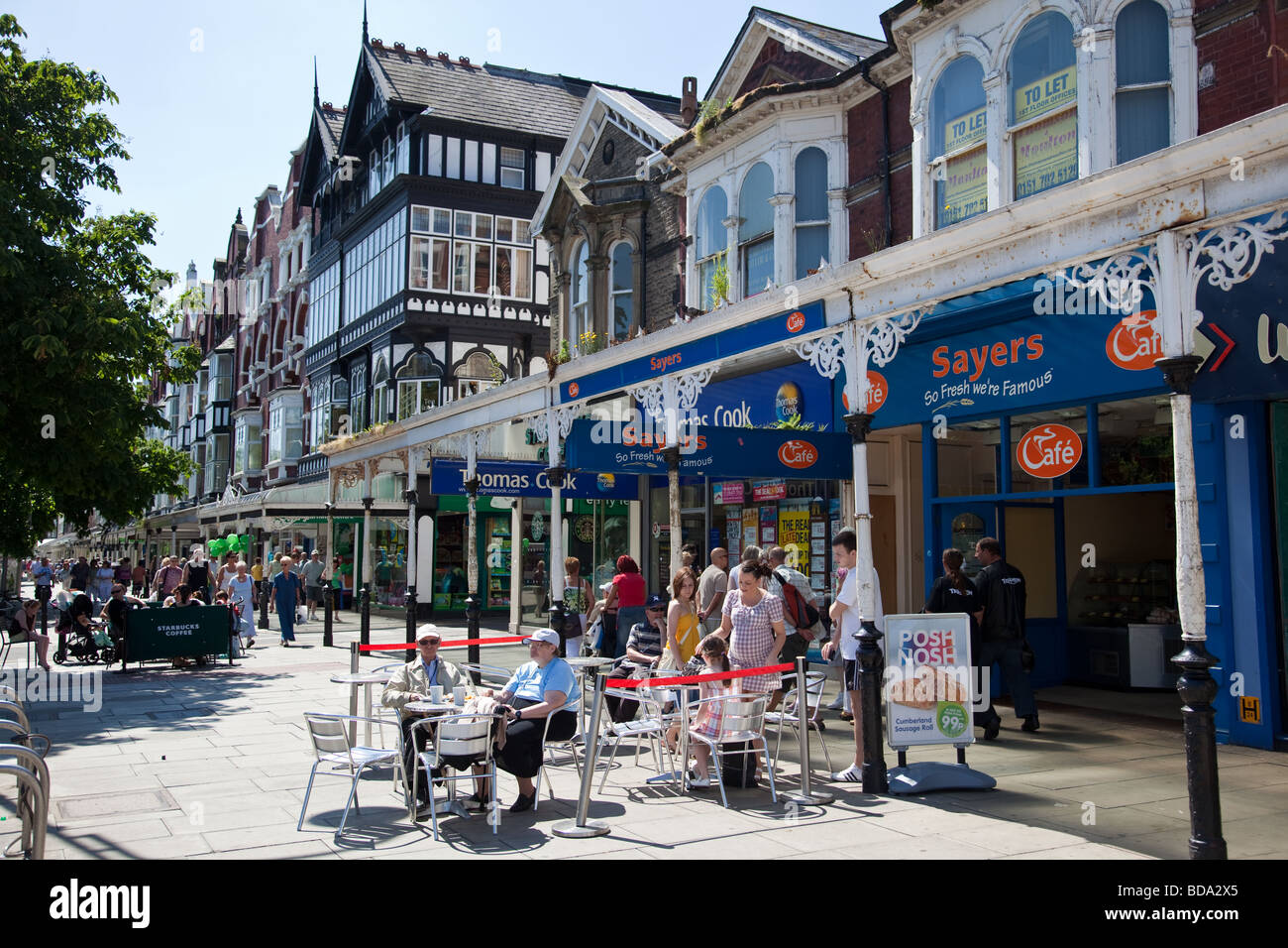 Shoppers on Lord Street in Southport Town centre Merseyside UK Stock Photo