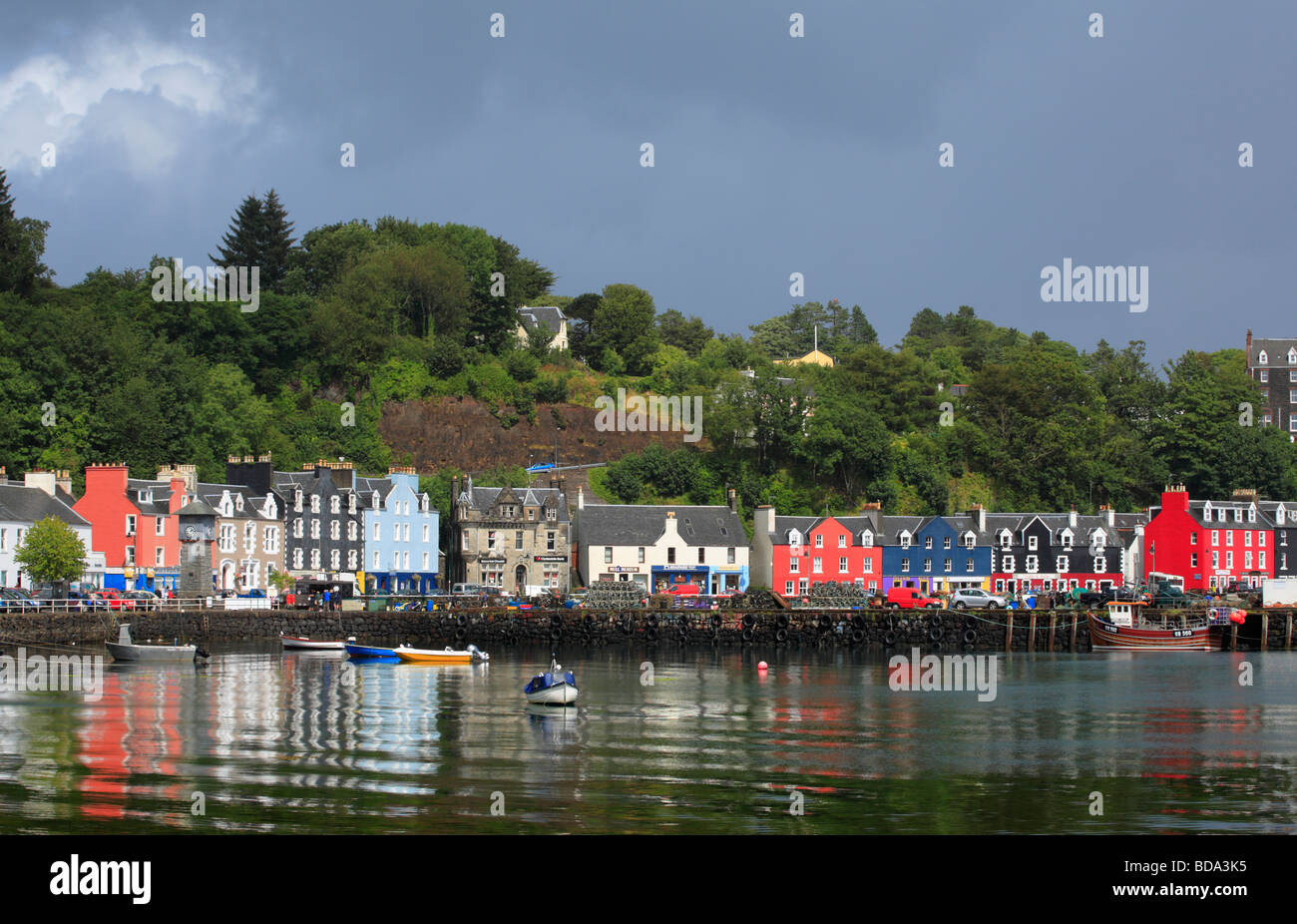 Tobermory Harbour on the Isle of Mull. - Stock Image