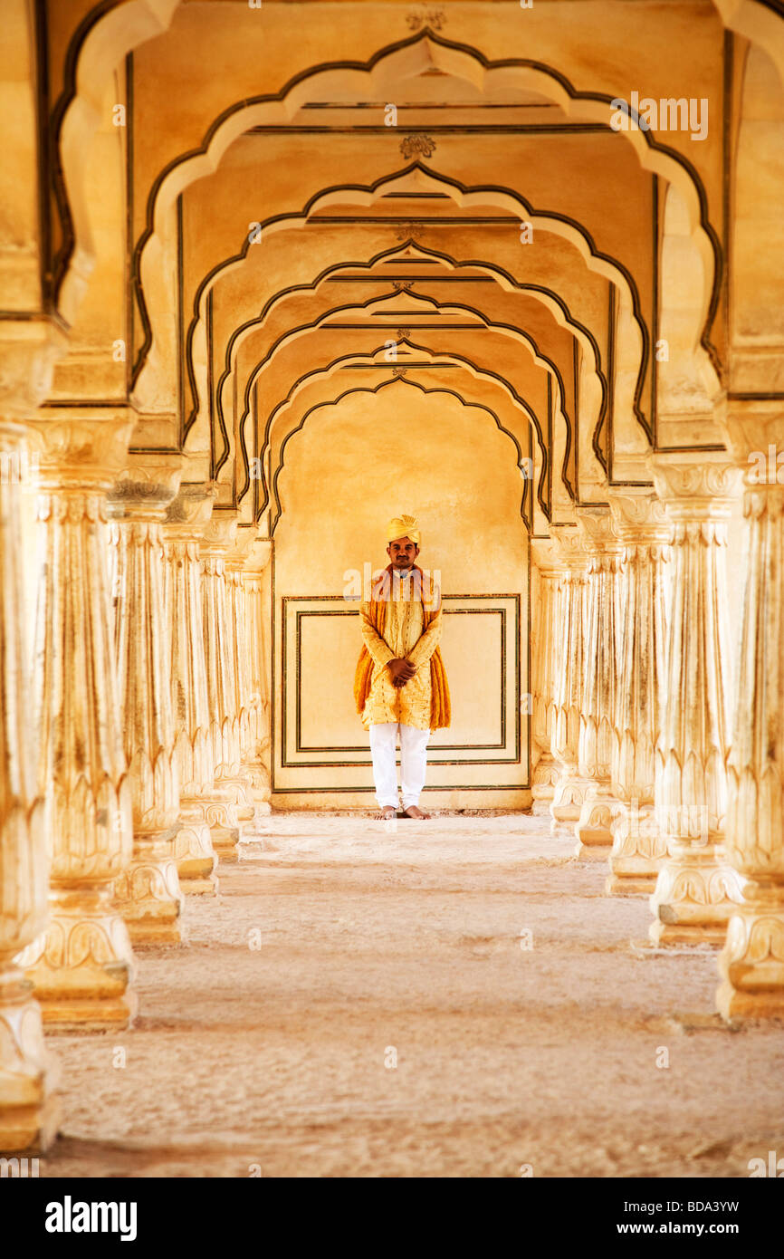 Man standing in a fort, Amber Fort, Jaipur, Rajasthan, India - Stock Image