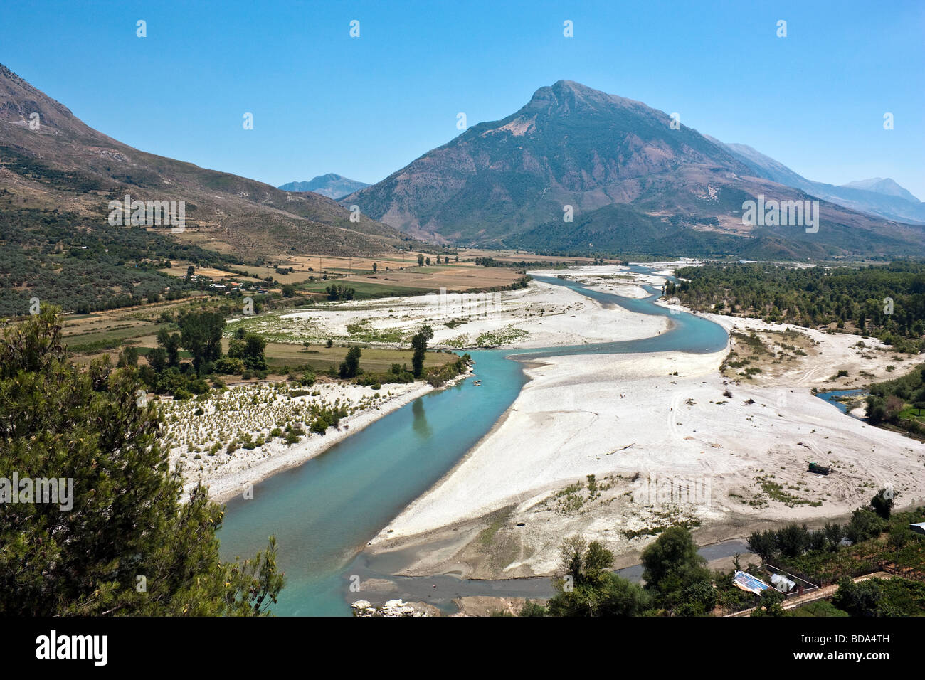 The Drin River Valley of Albania. - Stock Image