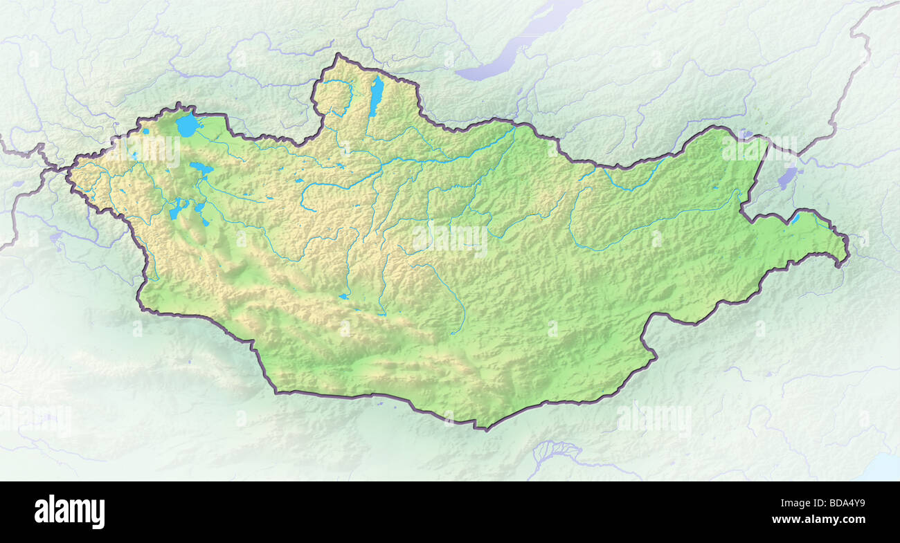 Mongolia, shaded relief map. - Stock Image