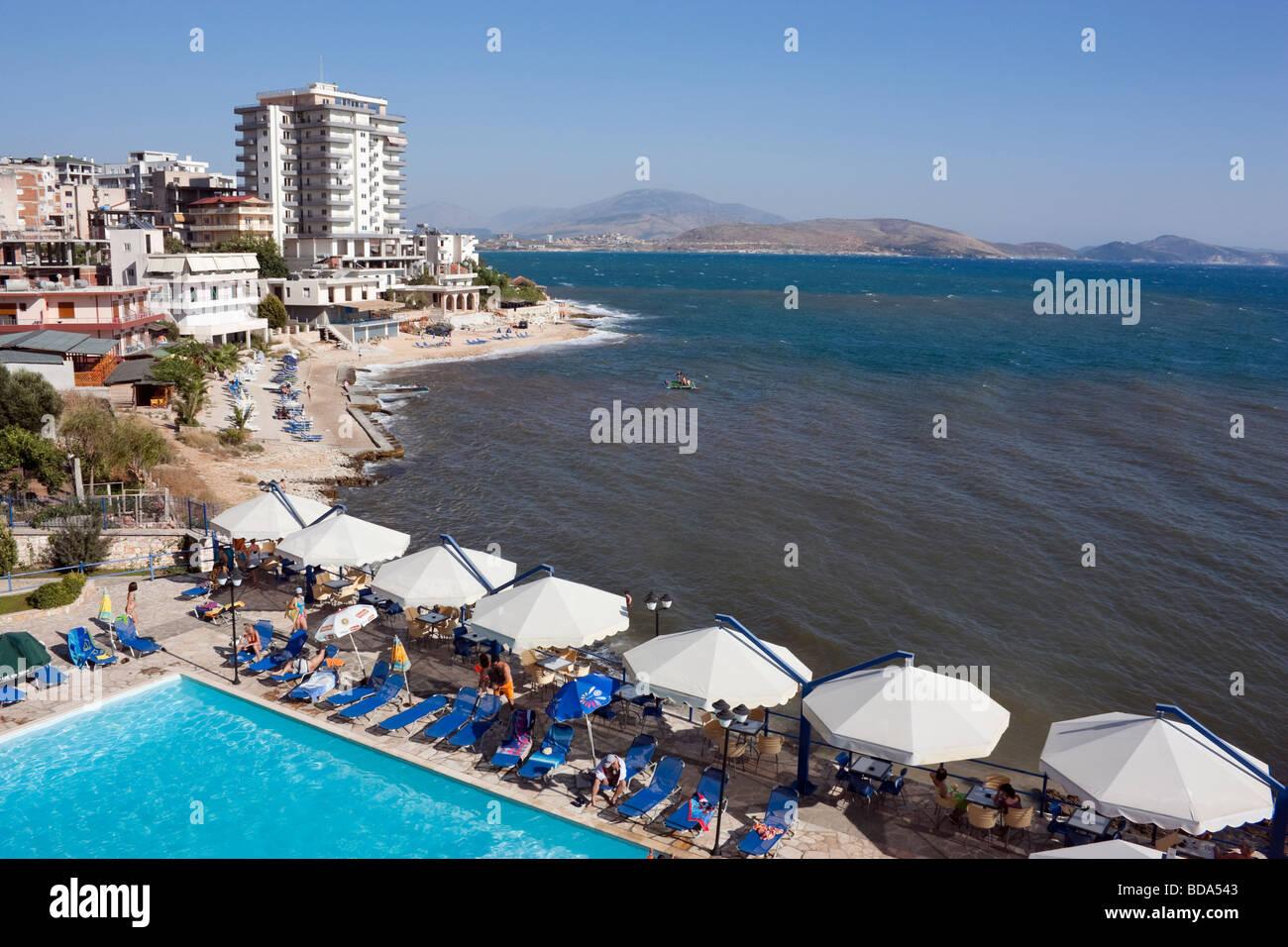 The view across to Corfu from the hotel Andon Lapa i Pare, Saranda, Albania. - Stock Image
