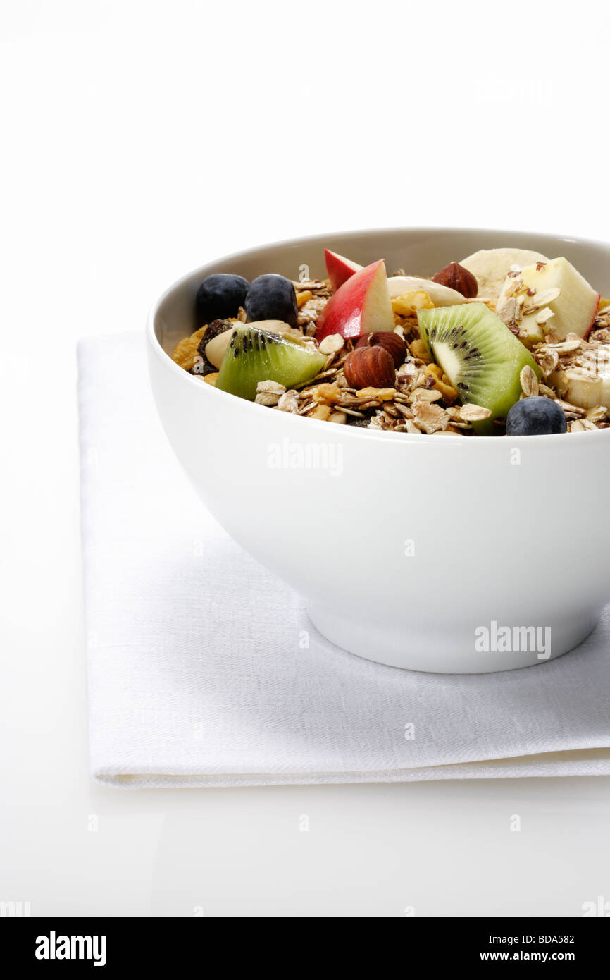 Cereals in white bowl - Stock Image