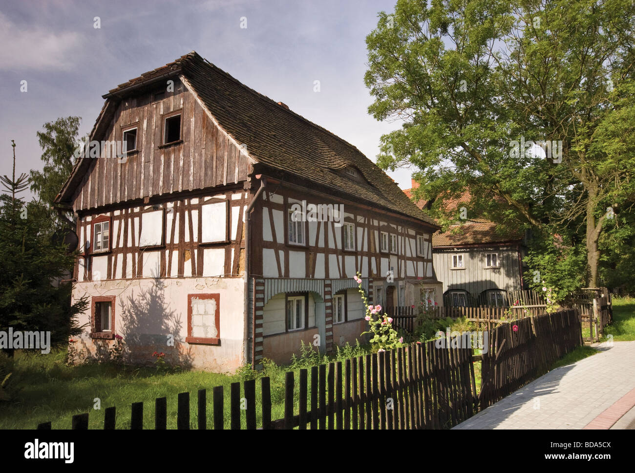 Half timbered Lusatian weavers houses in Bogatynia Lower Silesia region Poland - Stock Image
