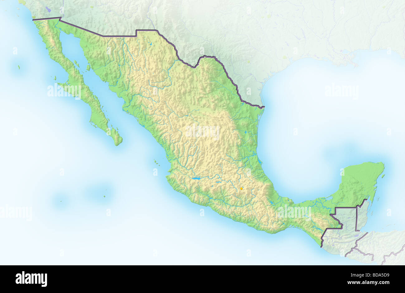 Mexico Physical Map Stock Photos & Mexico Physical Map Stock Images ...