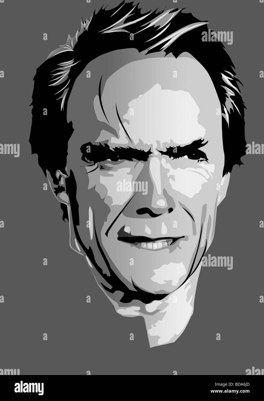 Clint eastwood pop art style portrait illustration stock image
