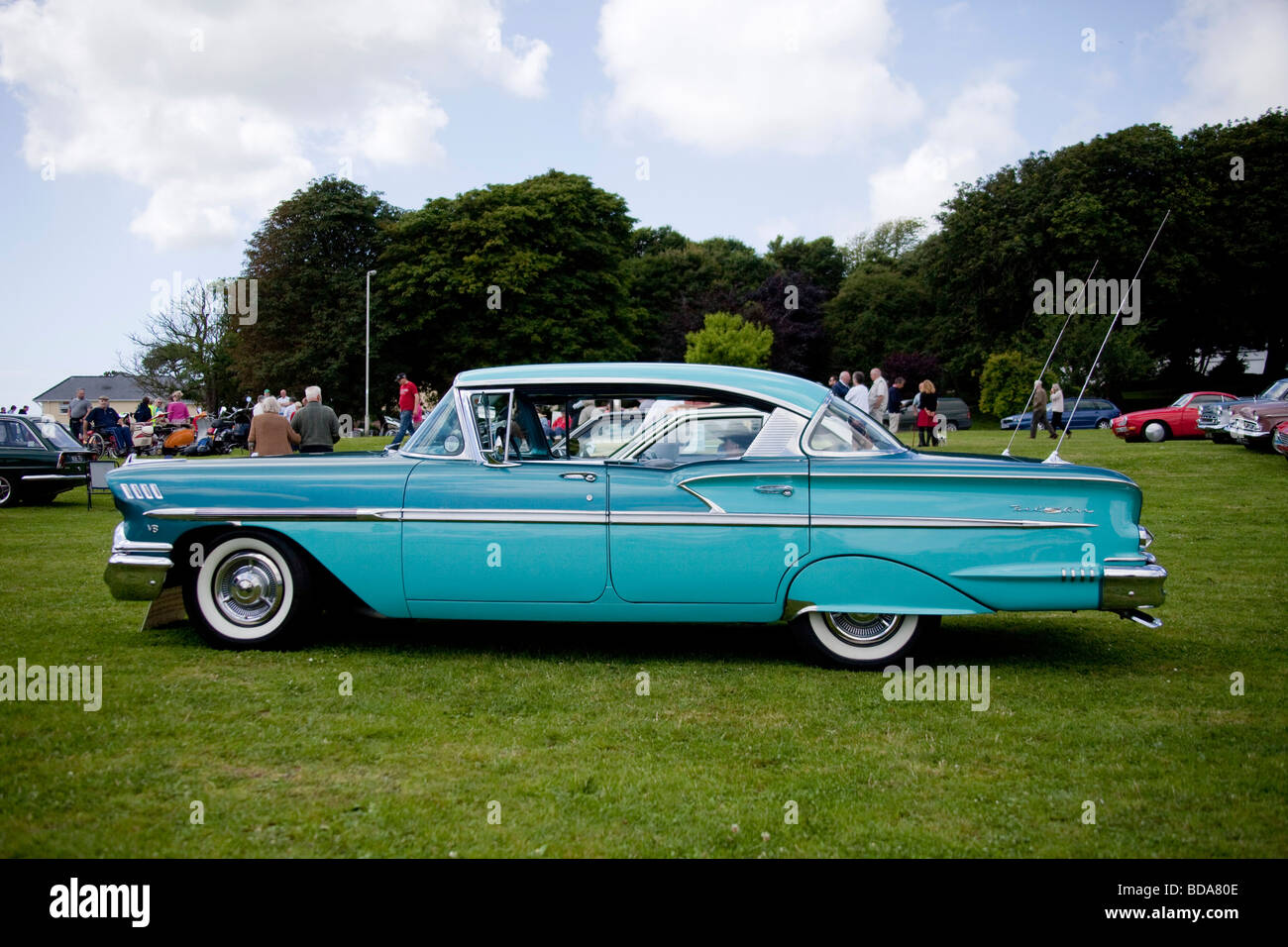 Emerald green vintage Chevy 1960\'s Profile side view at country fair ...