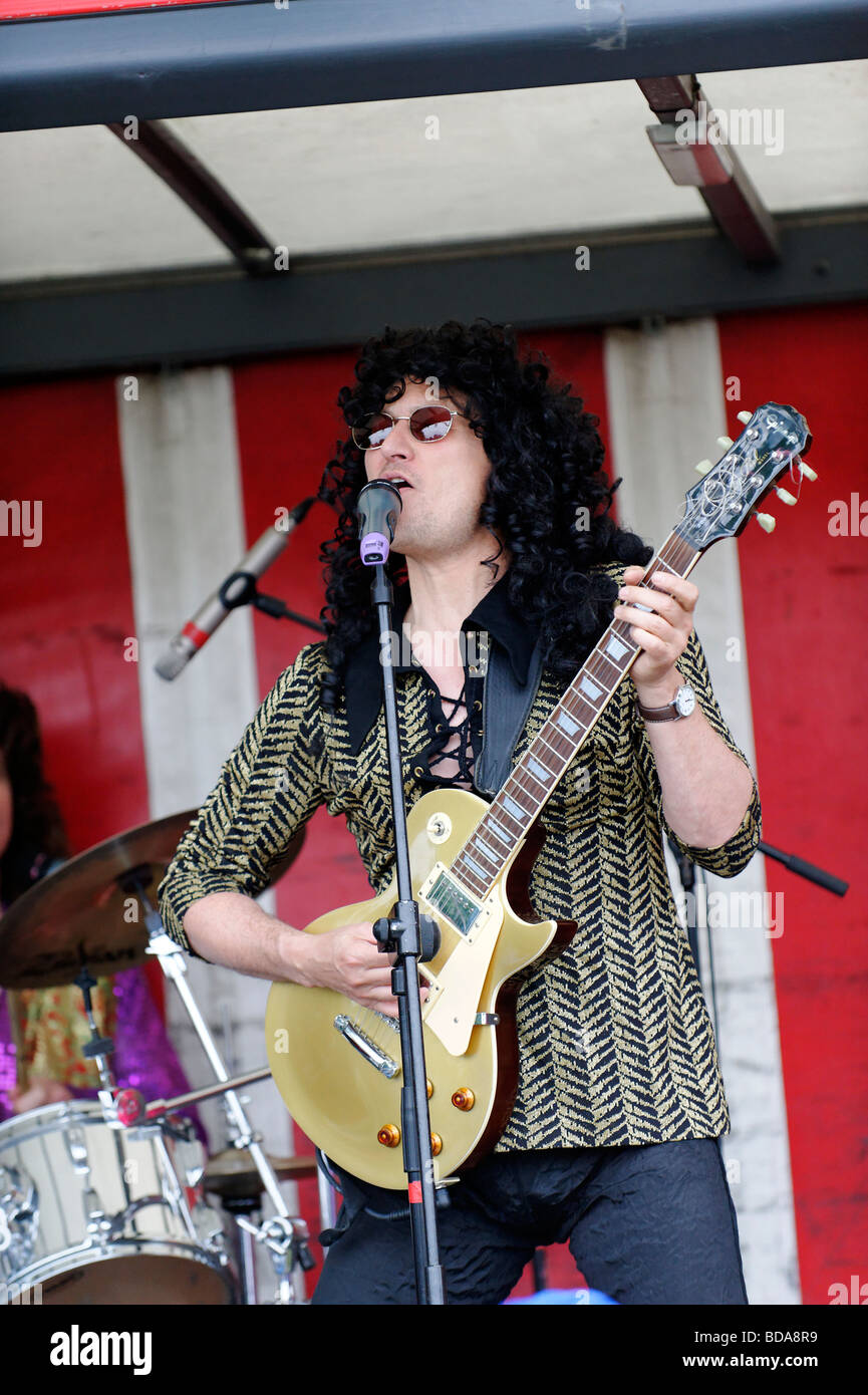 "Glam rock tribute Band ""Bulge"" played St Margaret's fair. Stock Photo"