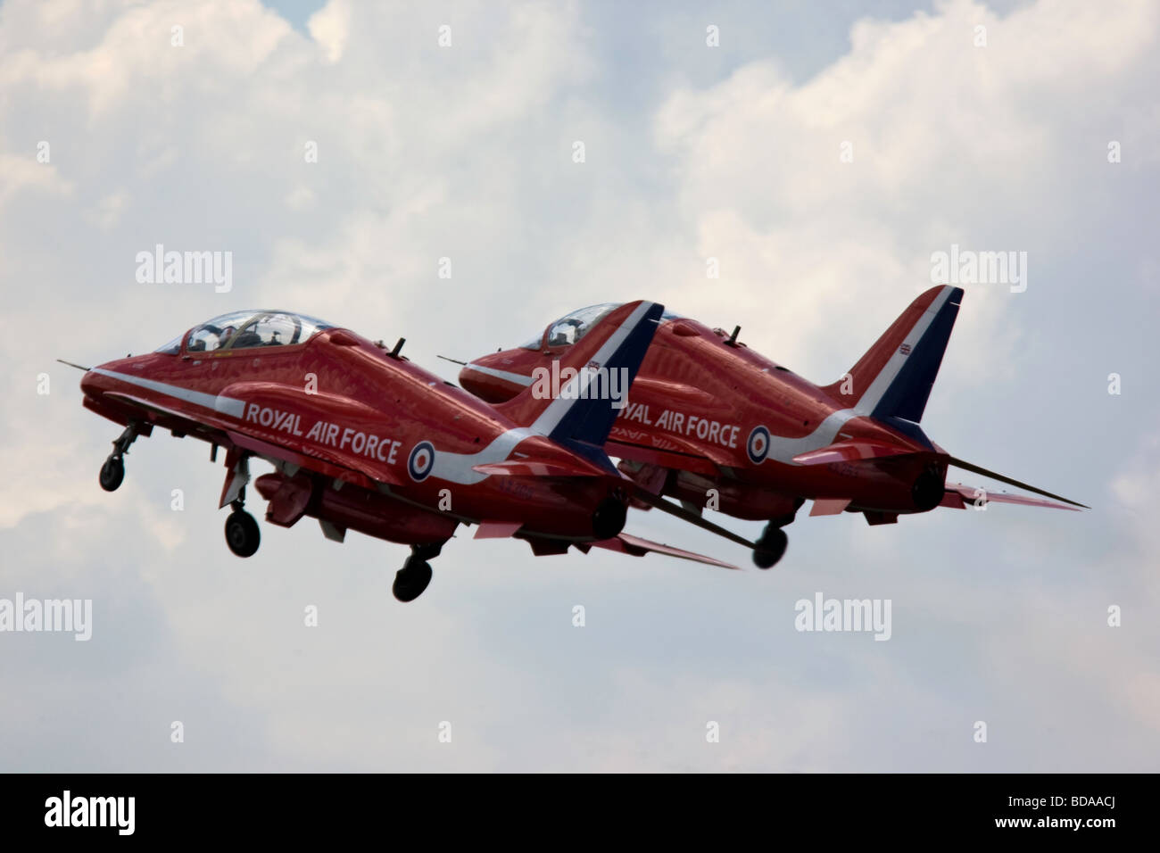 Two Raf Red Arrows Bae Systems Hawk Jets Taking Off In Formation At
