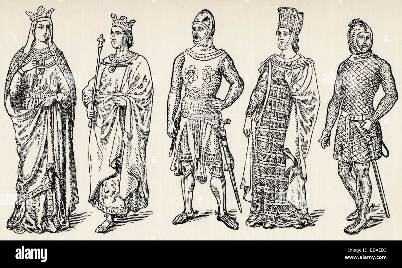 Costumes of the thirteenth century Spanish kings and nobles. - Stock Image