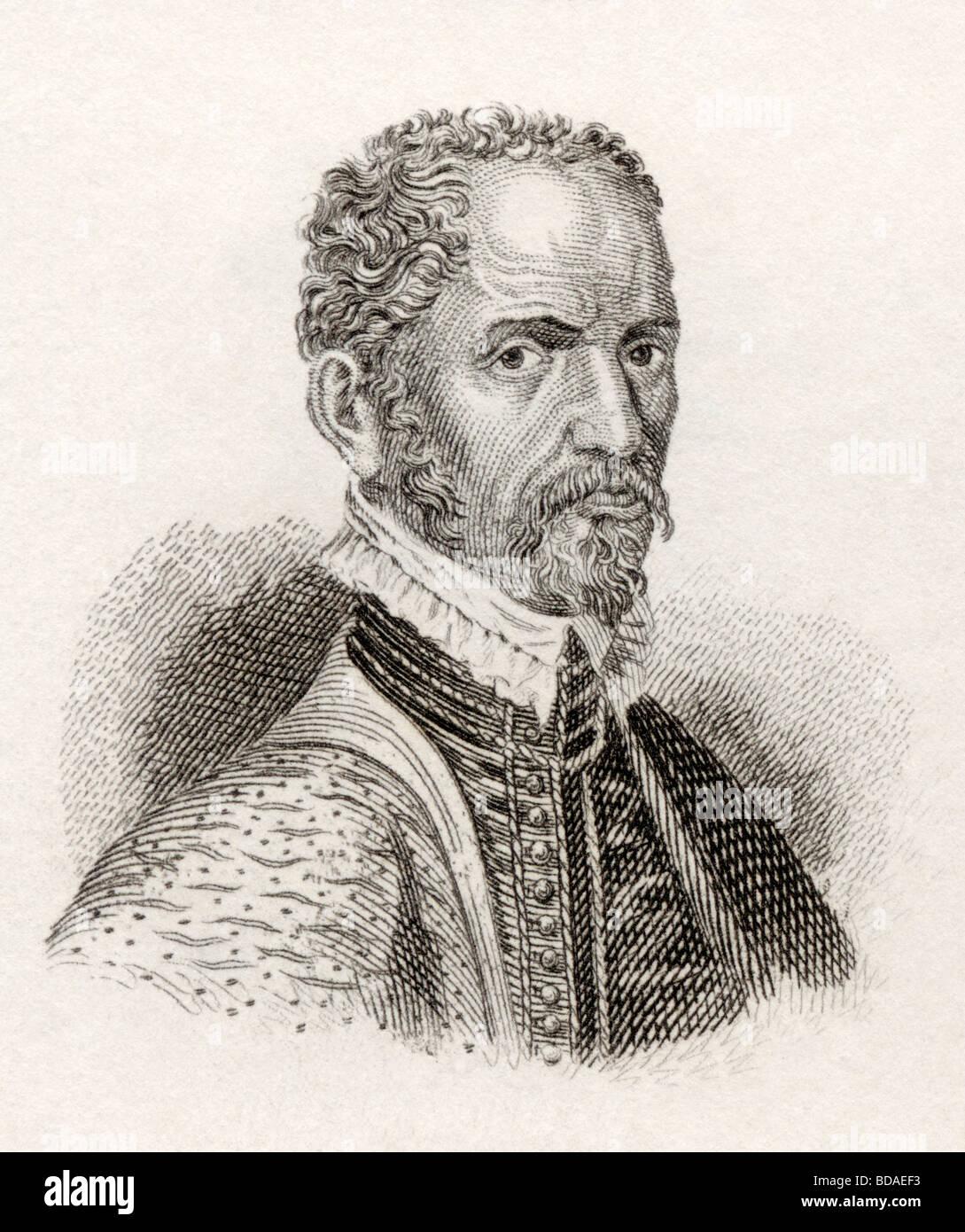 Hubert Goltz aka Hubertus Goltzius 1526 to 1583.  Flemish humanist printmaker, publisher, painter and numismatist. - Stock Image