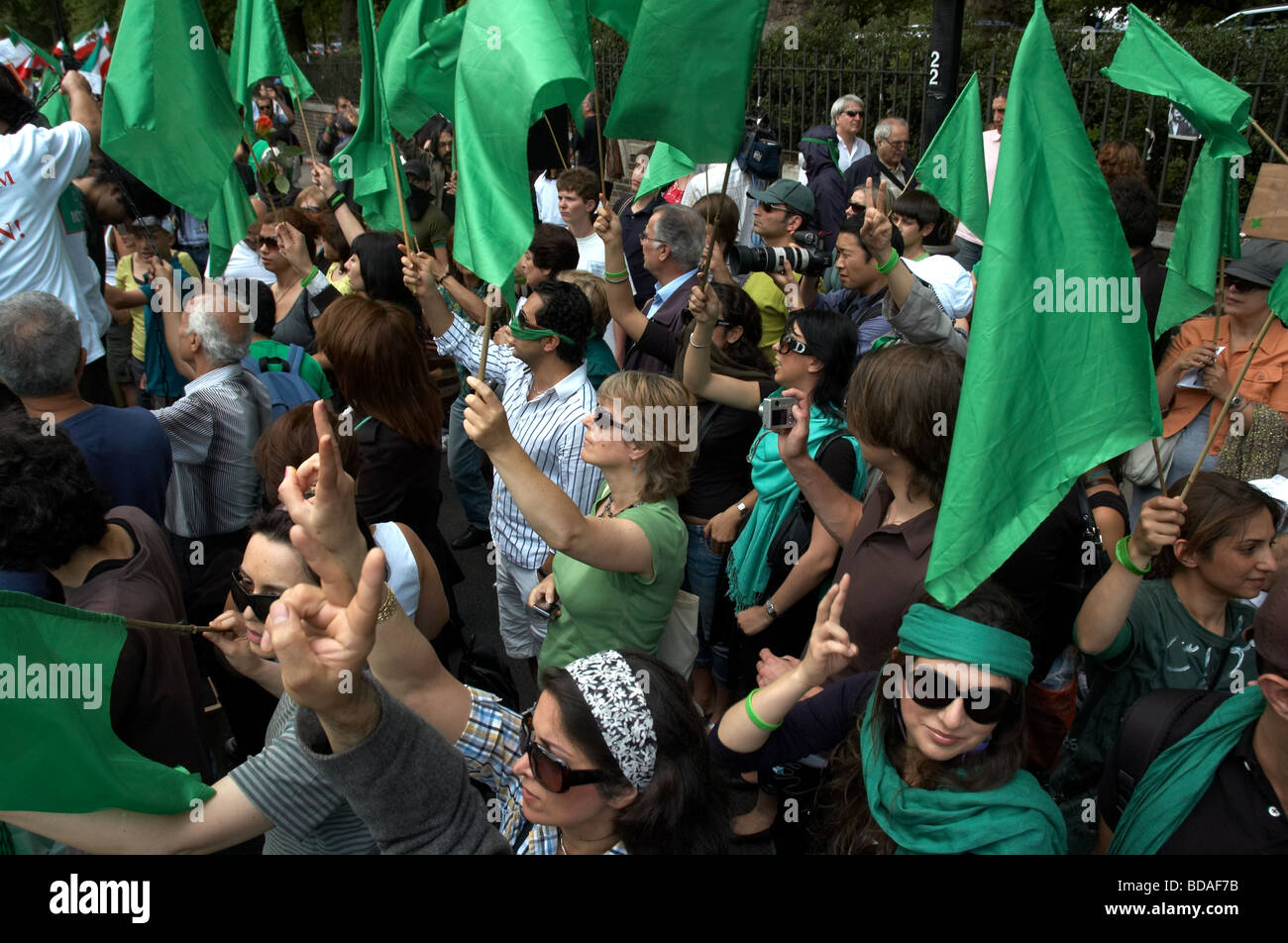 People demonstrating outside the Iranian Embassy in London on the United For Iran Global Day Of Action in 25th of - Stock Image