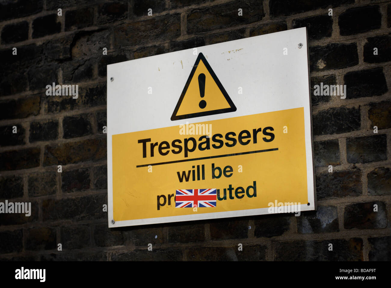 Street sign with the word Trespasser will be prosecuted written on it - Stock Image