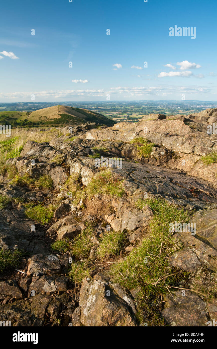View towards North Hill and Table Hill from the summit of Worcestershire Beacon in the Malvern Hills Worcestershire - Stock Image