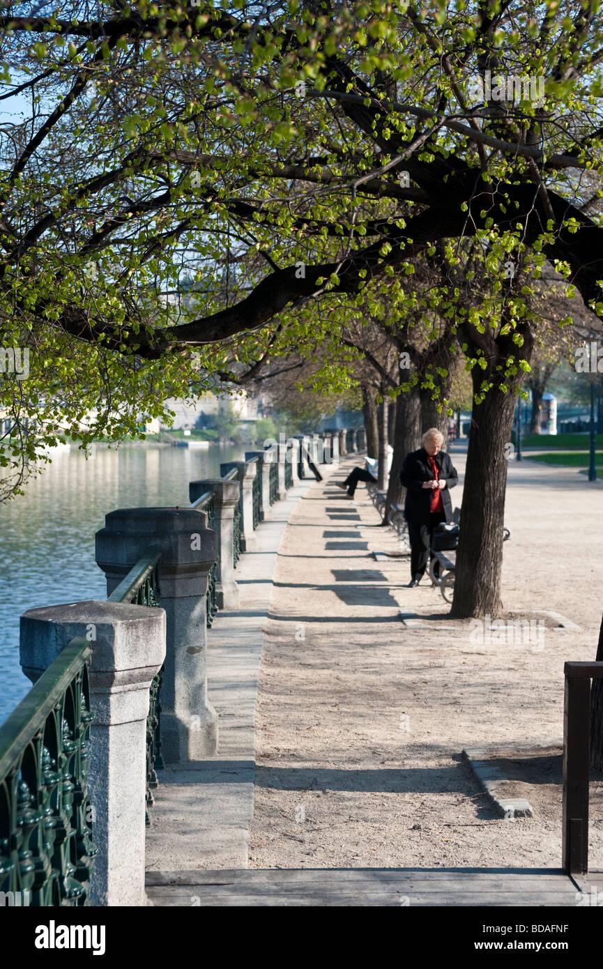 Strolling along the Moldau - Vltava Quay - Stock Image