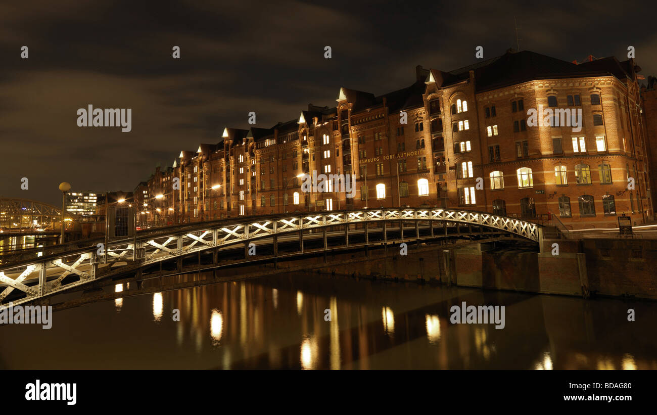 The historic warehouse district 'Speicherstadt' of Hamburg northern Germany on February 11 2009. - Stock Image