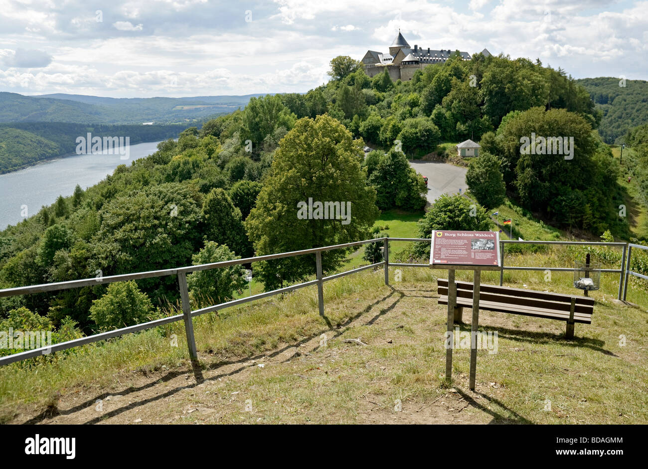 Schloss  Waldeck overlooking Edersee lake Hesse, Germany. - Stock Image